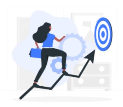 Woman Climbing Arrow towards target