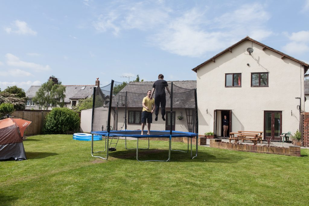 Two young Boys on Trampoline